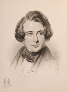 Sketch of Charles Dickens in 1842 (public domain) with picture of his sister Fanny bottom left (public domain, source Bonhams)