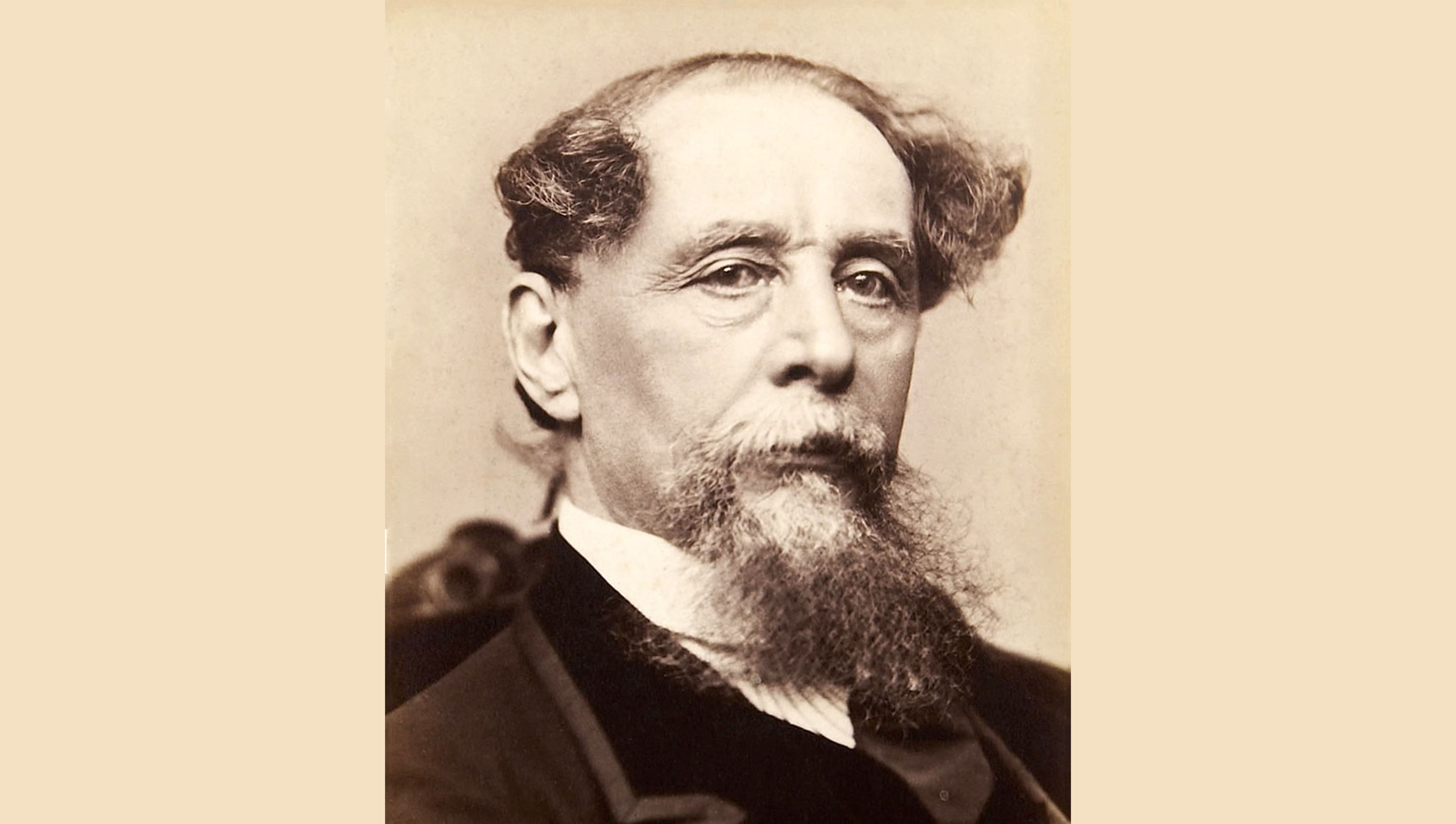 Charles Dickens in later life based on photograph by Jeremiah Gurney (public domain)